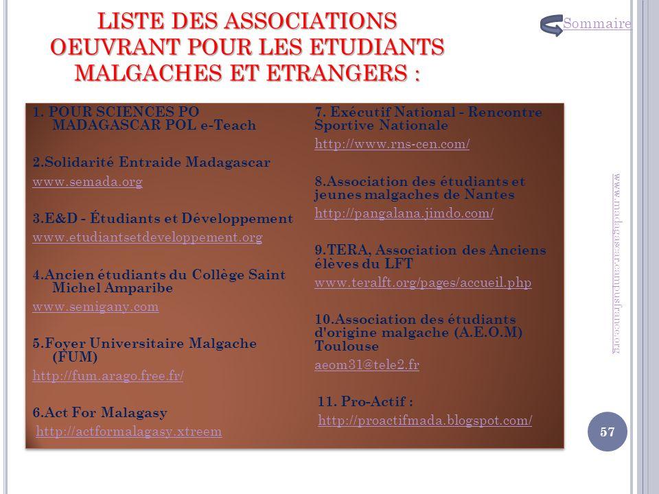 Sommaire LISTE DES ASSOCIATIONS OEUVRANT POUR LES ETUDIANTS MALGACHES ET ETRANGERS :