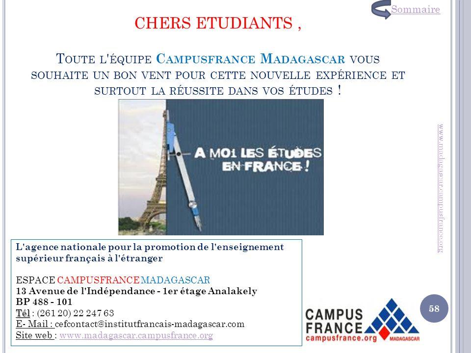 CHERS ETUDIANTS , Toute l équipe Campusfrance Madagascar vous souhaite un bon vent pour cette nouvelle expérience et surtout la réussite dans vos études !