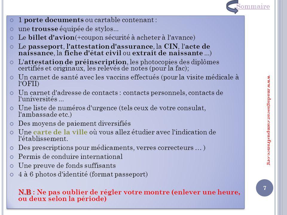 Sommaire 1 porte documents ou cartable contenant :