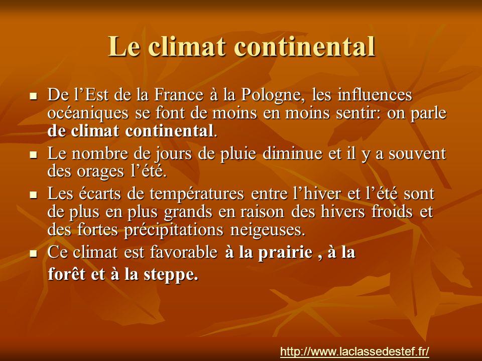 Le climat continental De l'Est de la France à la Pologne, les influences océaniques se font de moins en moins sentir: on parle de climat continental.
