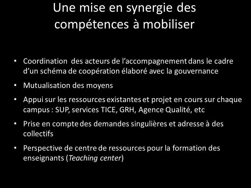 Une mise en synergie des compétences à mobiliser