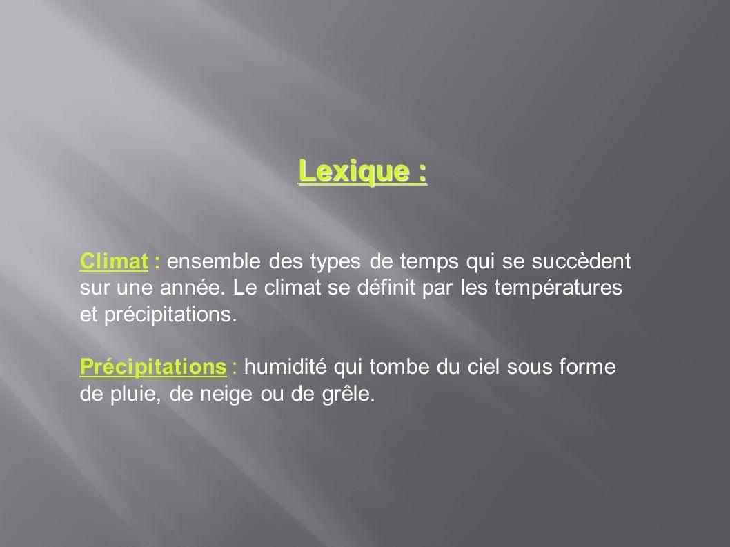 Lexique : Climat : ensemble des types de temps qui se succèdent sur une année. Le climat se définit par les températures et précipitations.