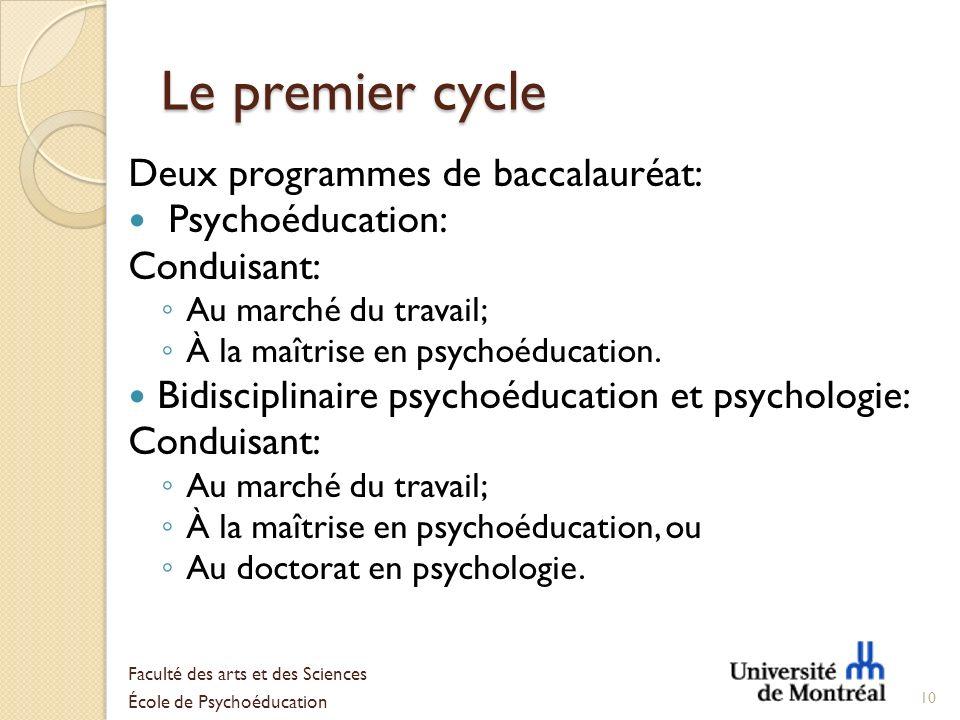 Le premier cycle Deux programmes de baccalauréat: Psychoéducation: