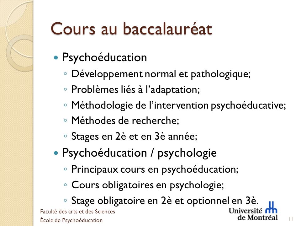 Cours au baccalauréat Psychoéducation Psychoéducation / psychologie
