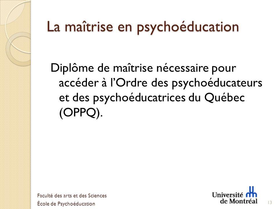 La maîtrise en psychoéducation