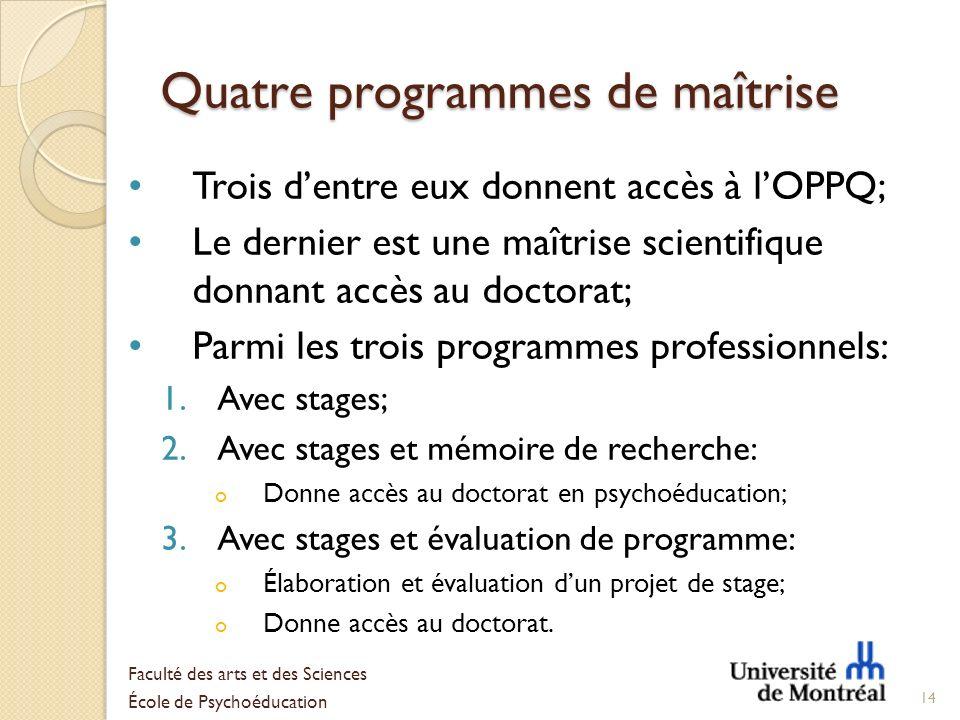 Quatre programmes de maîtrise