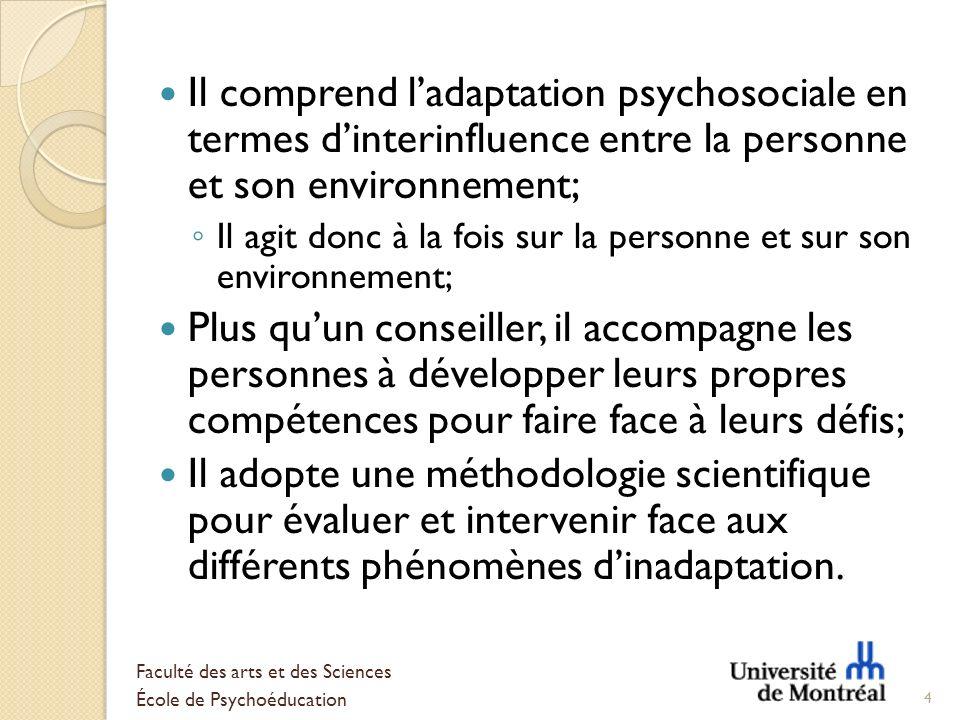 Il comprend l'adaptation psychosociale en termes d'interinfluence entre la personne et son environnement;