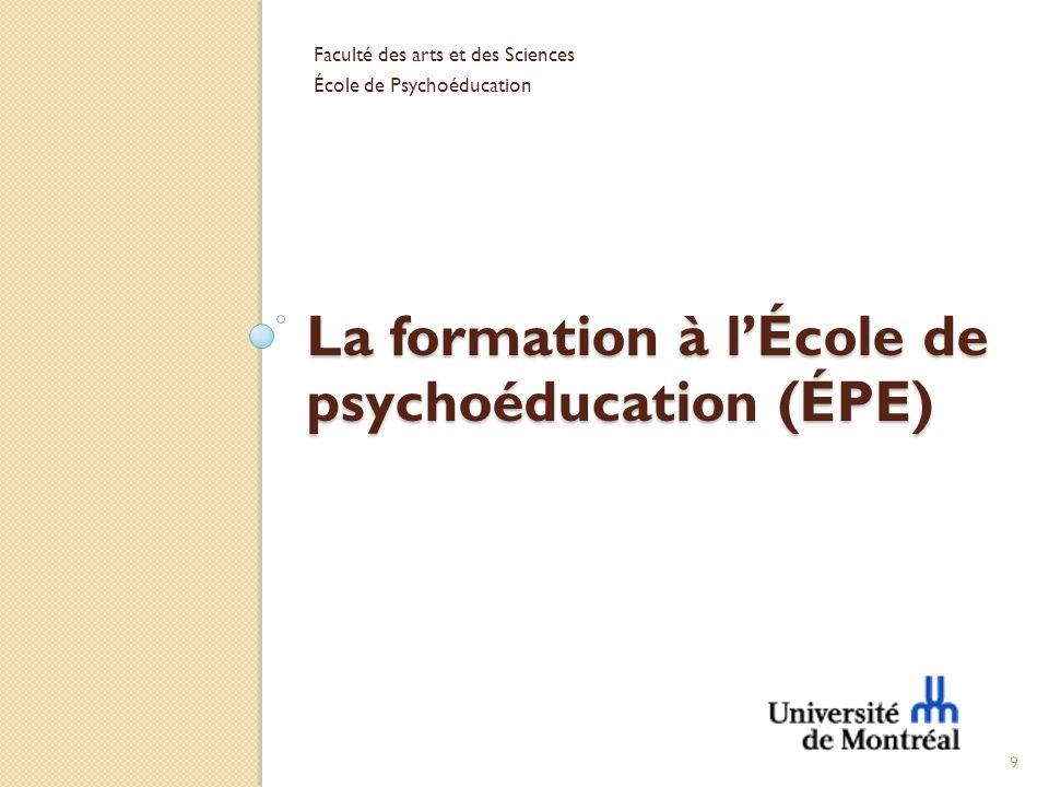 La formation à l'École de psychoéducation (ÉPE)