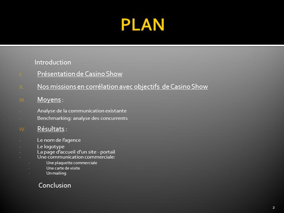 PLAN Présentation de Casino Show