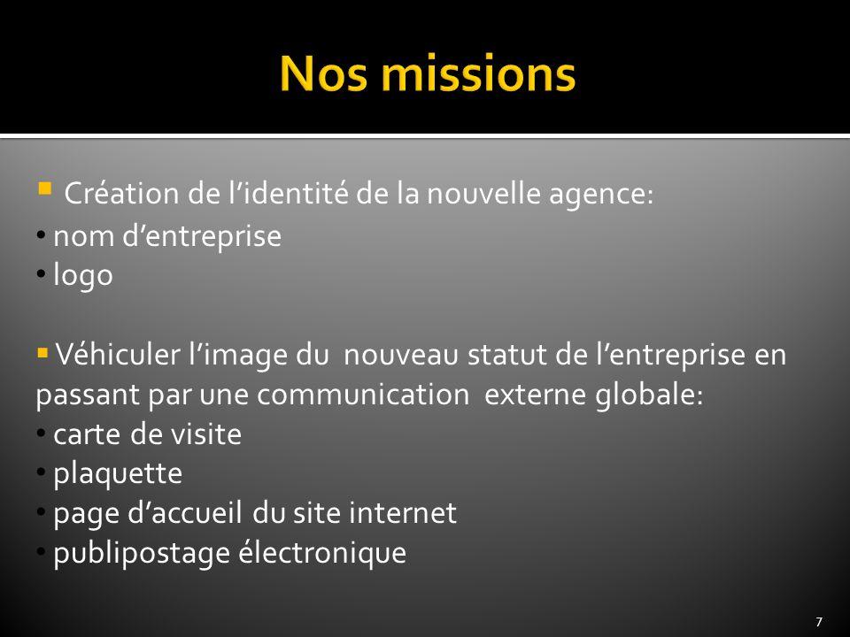 Nos missions Création de l'identité de la nouvelle agence: