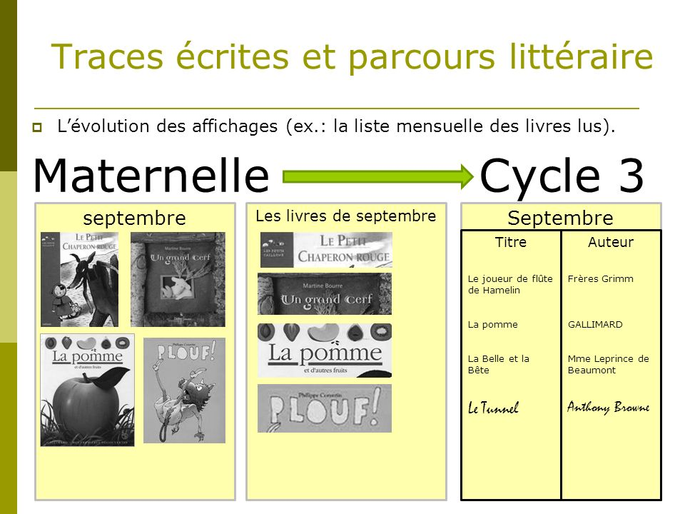 Maternelle Cycle 3 Traces écrites et parcours littéraire septembre