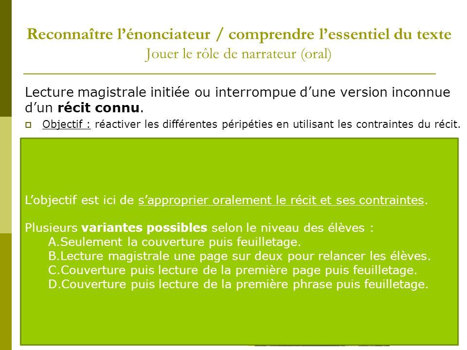 Reconnaître l'énonciateur / comprendre l'essentiel du texte Jouer le rôle de narrateur (oral)