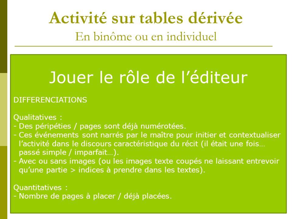 Activité sur tables dérivée En binôme ou en individuel