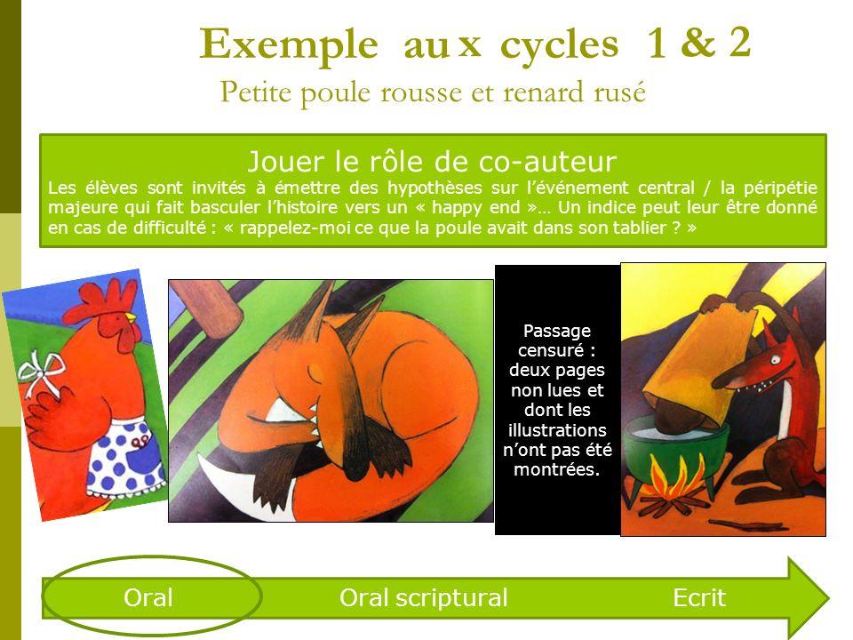 Exemple au cycle 1 Petite poule rousse et renard rusé