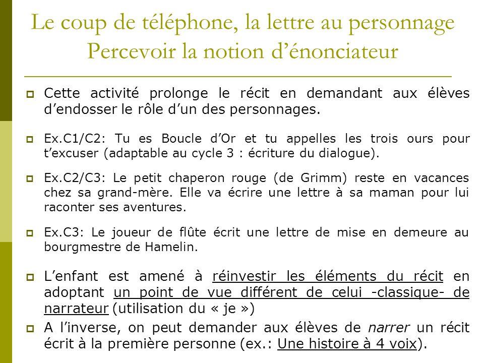 Le coup de téléphone, la lettre au personnage Percevoir la notion d'énonciateur