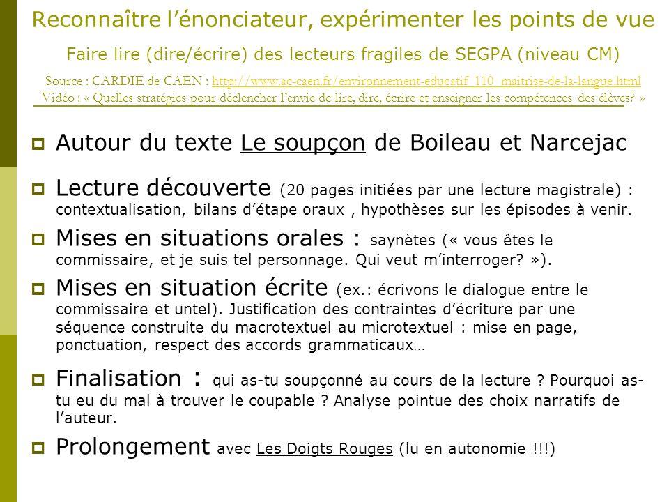 Autour du texte Le soupçon de Boileau et Narcejac