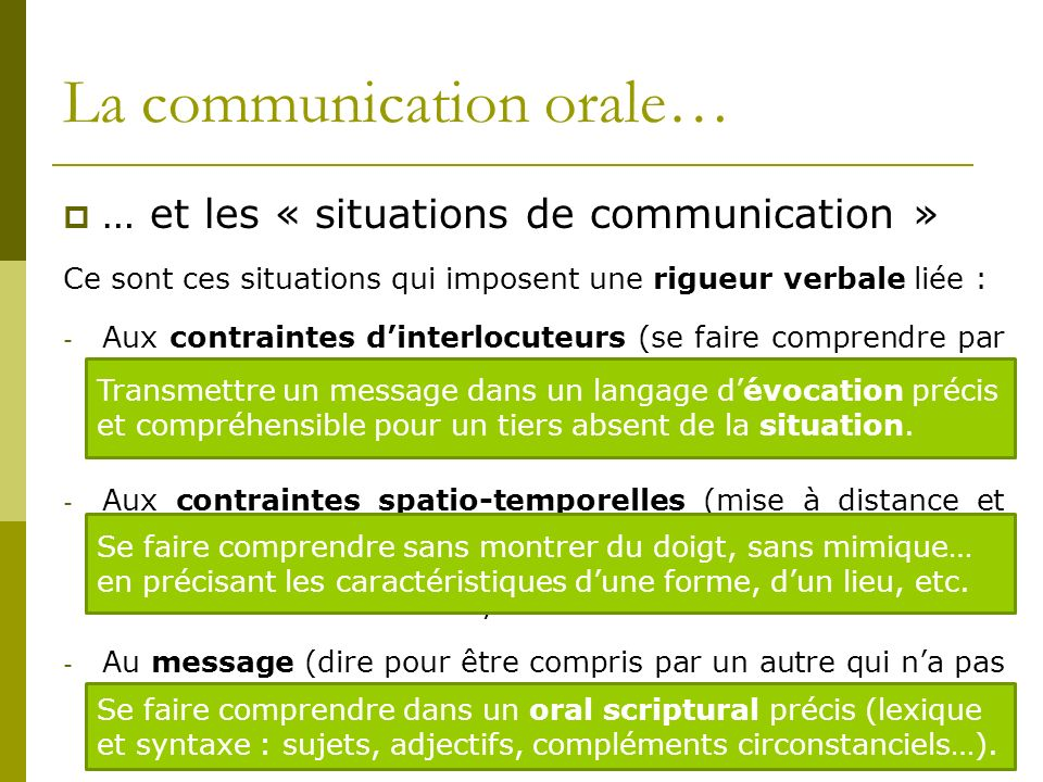 La communication orale…