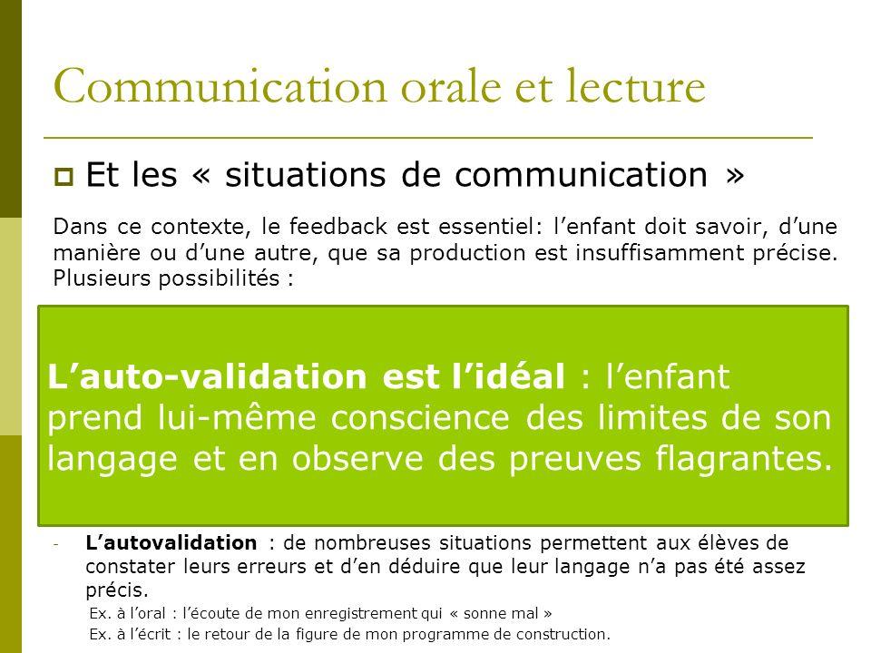 Communication orale et lecture
