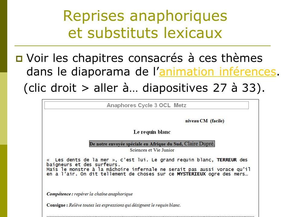 Reprises anaphoriques et substituts lexicaux