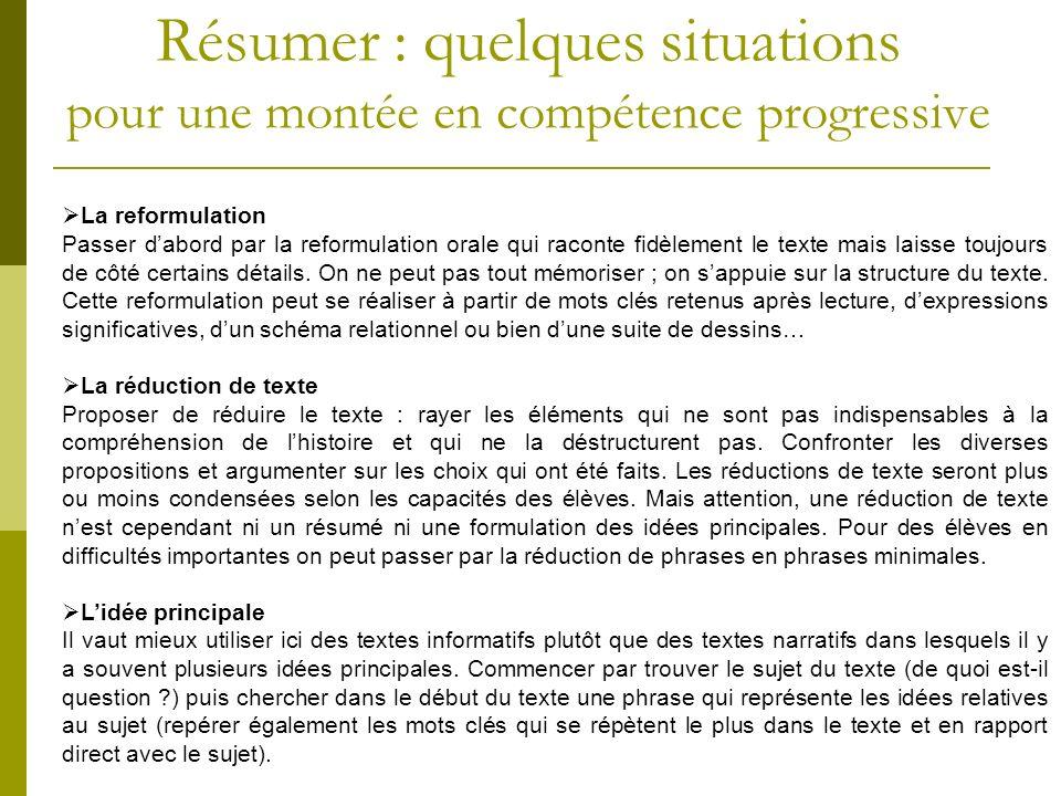 Résumer : quelques situations pour une montée en compétence progressive