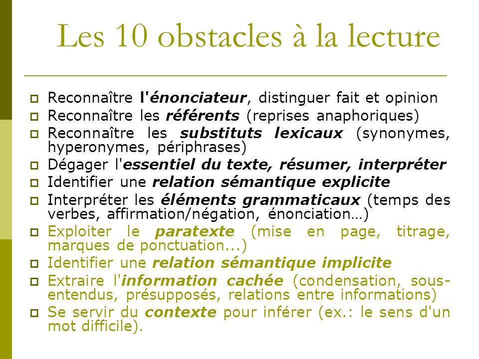 Les 10 obstacles à la lecture