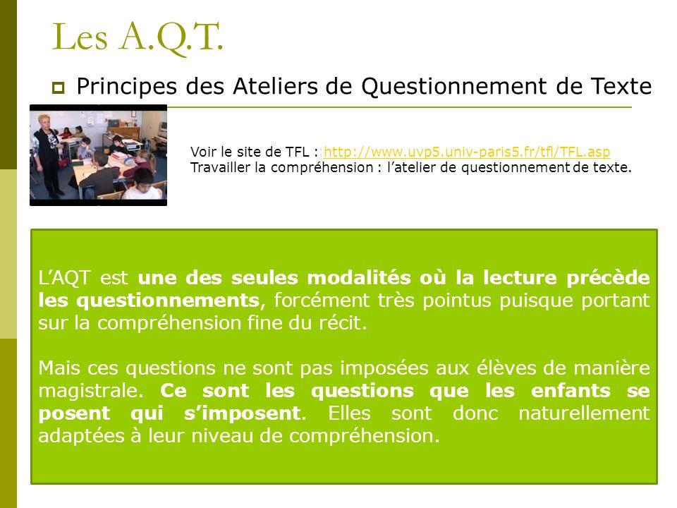 Les A.Q.T. Principes des Ateliers de Questionnement de Texte