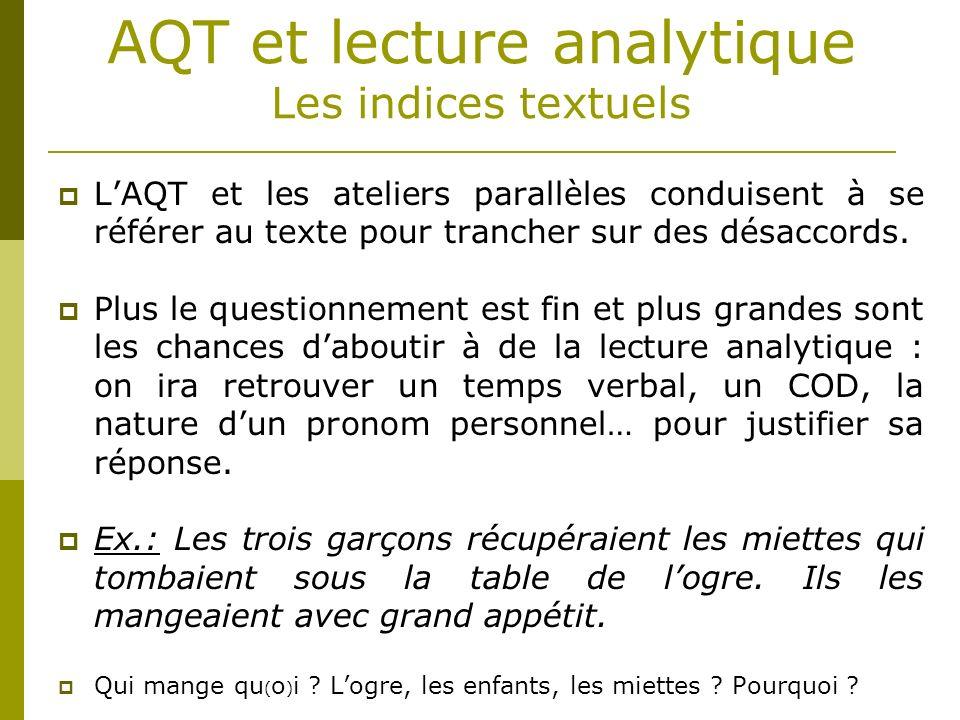 AQT et lecture analytique Les indices textuels