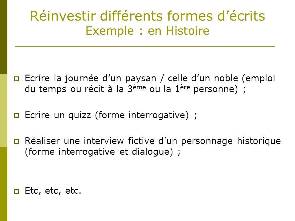 Réinvestir différents formes d'écrits Exemple : en Histoire