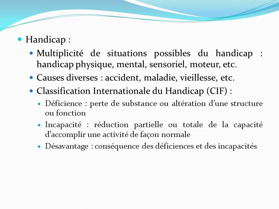 Handicap : Multiplicité de situations possibles du handicap : handicap physique, mental, sensoriel, moteur, etc.
