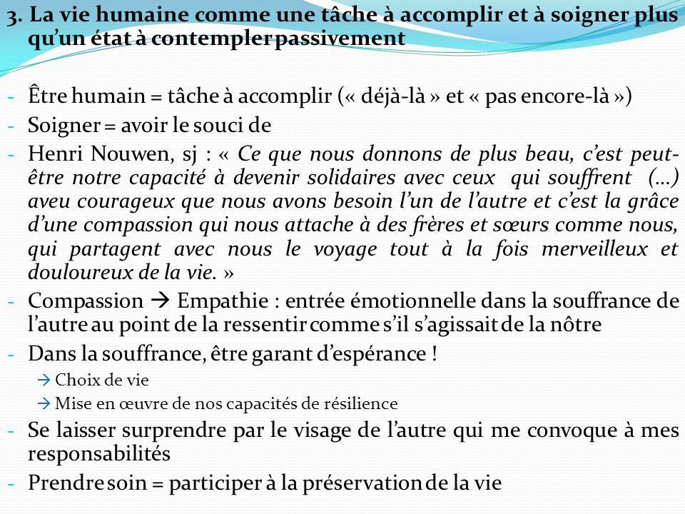 Être humain = tâche à accomplir (« déjà-là » et « pas encore-là »)