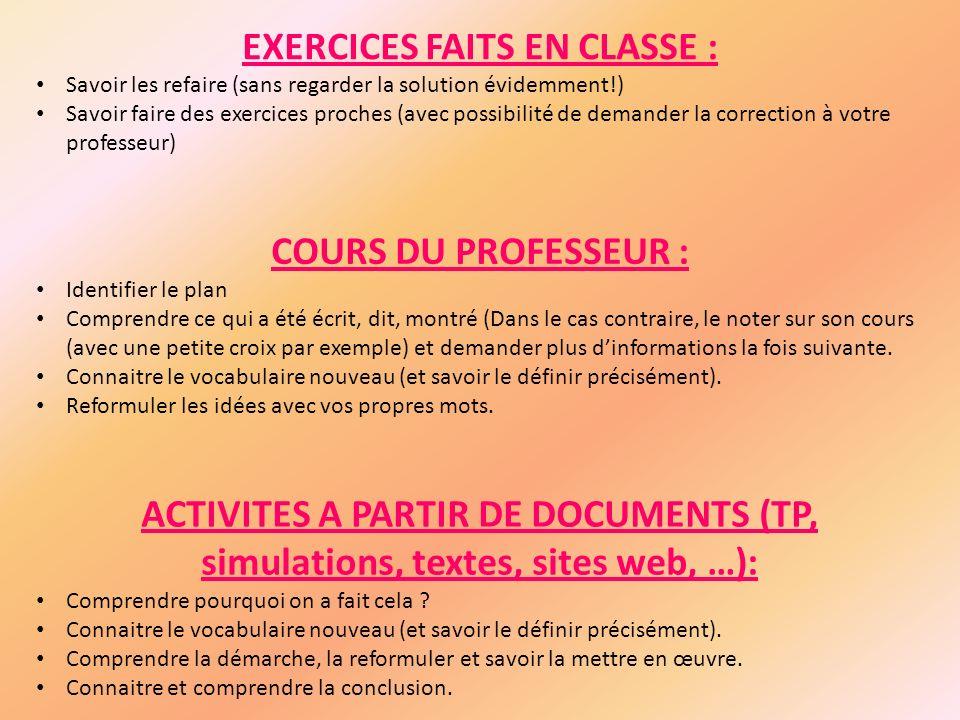 EXERCICES FAITS EN CLASSE :