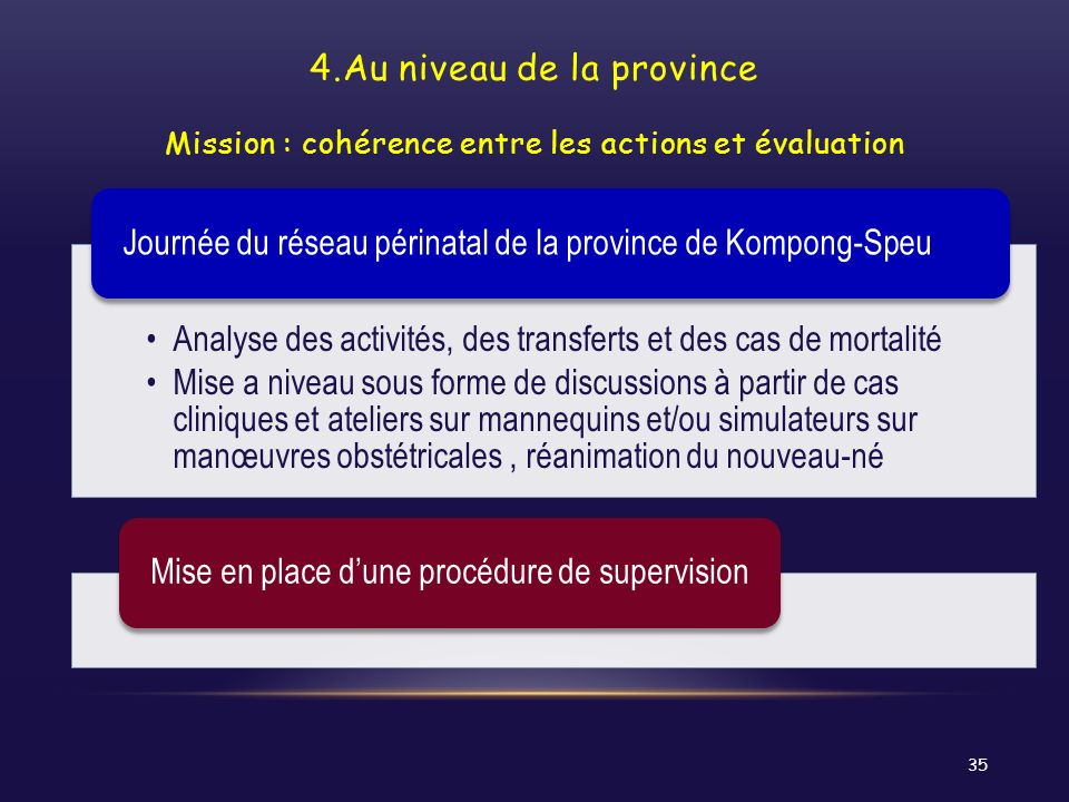 4.Au niveau de la province Mission : cohérence entre les actions et évaluation
