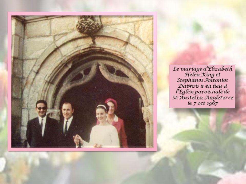 Le mariage d'Elizabeth Helen King et Stephanos Antonios Daimsis a eu lieu à l'Église paroissiale de St-Austel en Angleterre le 7 oct 1967