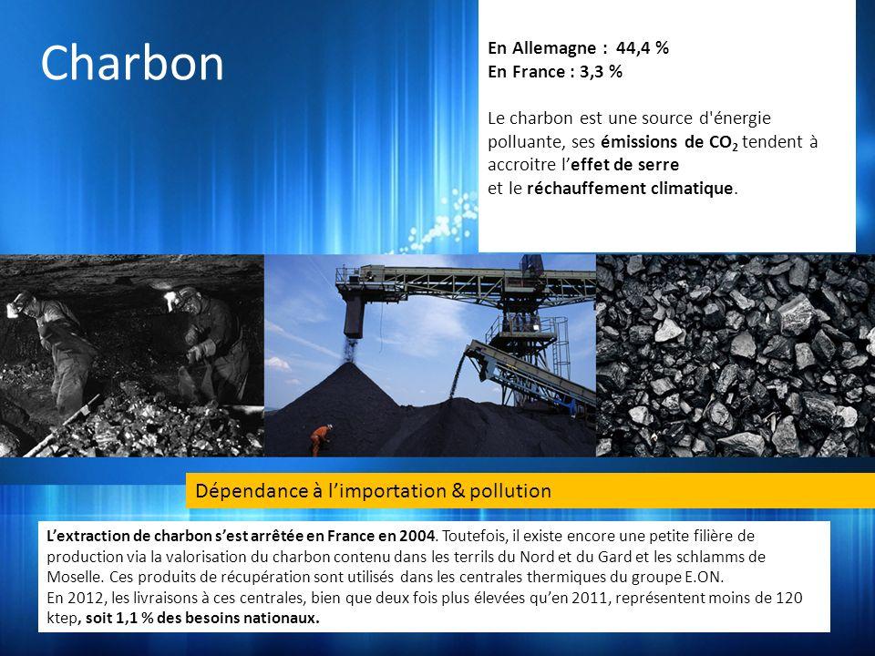 Charbon Dépendance à l'importation & pollution En Allemagne : 44,4 %