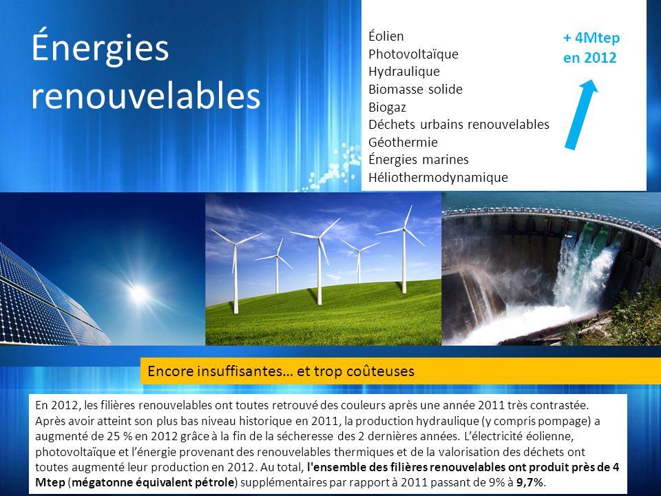 Énergies renouvelables + 4Mtep en 2012