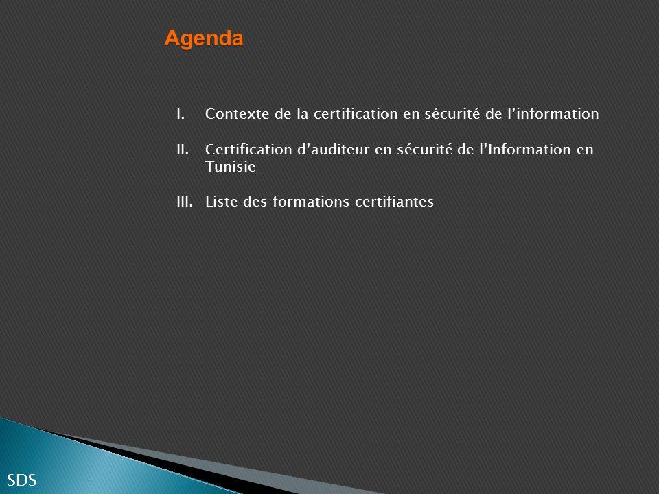 Agenda SDS Contexte de la certification en sécurité de l'information