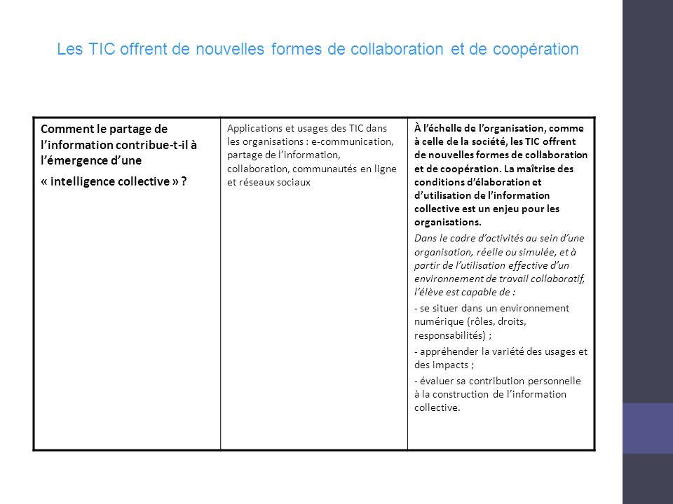Les TIC offrent de nouvelles formes de collaboration et de coopération