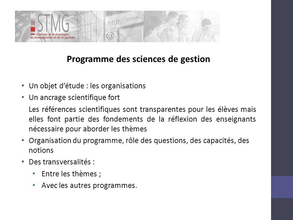 Programme des sciences de gestion