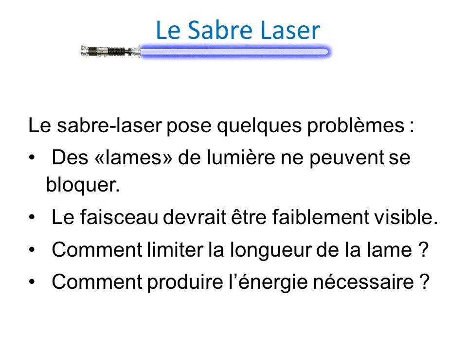 Le Sabre Laser Le sabre-laser pose quelques problèmes :