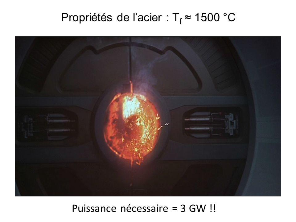 Propriétés de l'acier : Tf ≈ 1500 °C