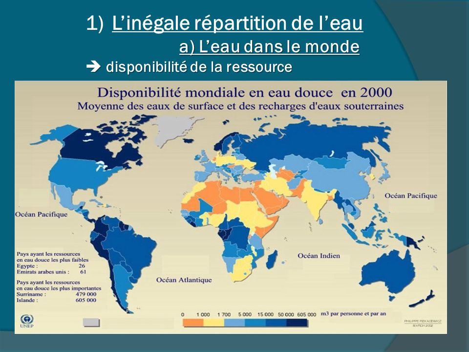 L'inégale répartition de l'eau a) L'eau dans le monde