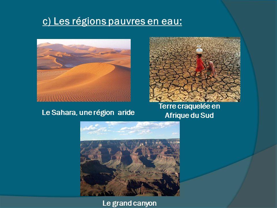 c) Les régions pauvres en eau: