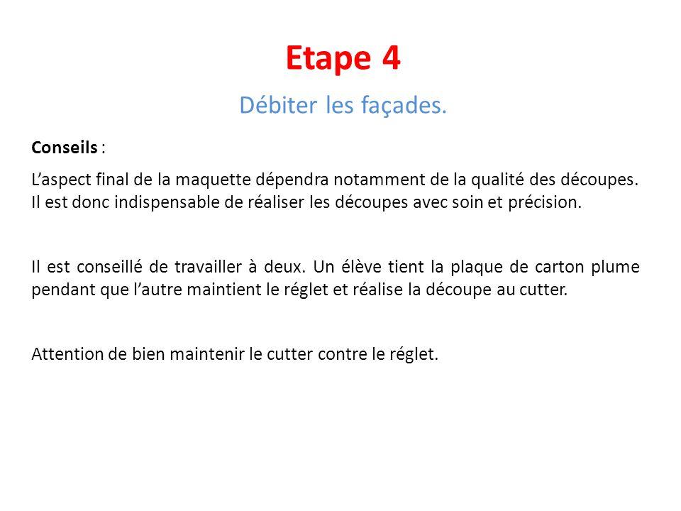 Etape 4 Débiter les façades. Conseils :