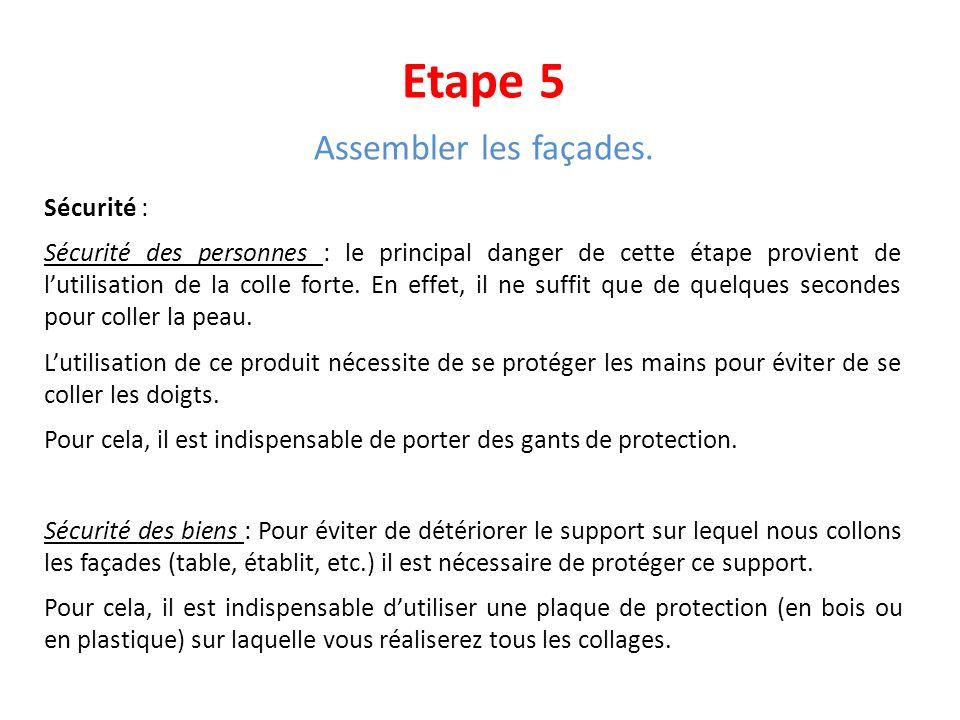 Etape 5 Assembler les façades. Sécurité :