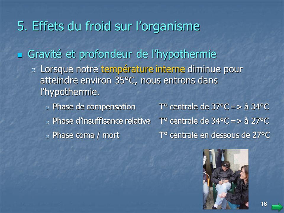 5. Effets du froid sur l'organisme