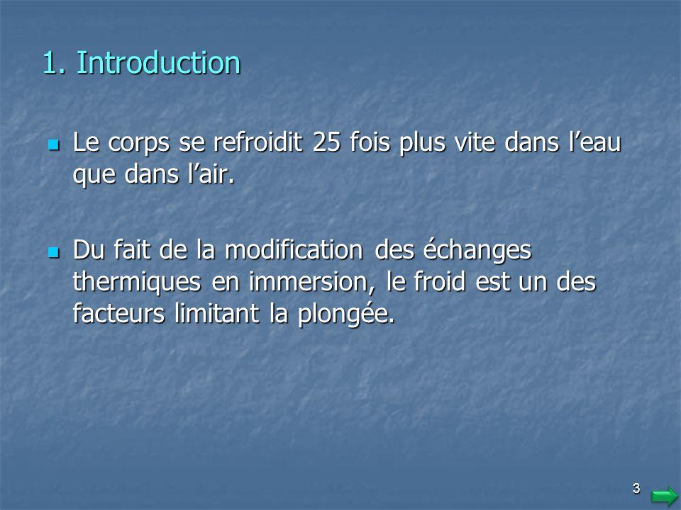 1. Introduction Le corps se refroidit 25 fois plus vite dans l'eau que dans l'air.