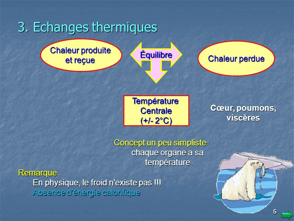 3. Echanges thermiques Chaleur produite. et reçue. Chaleur perdue. Équilibre. Température. Centrale.