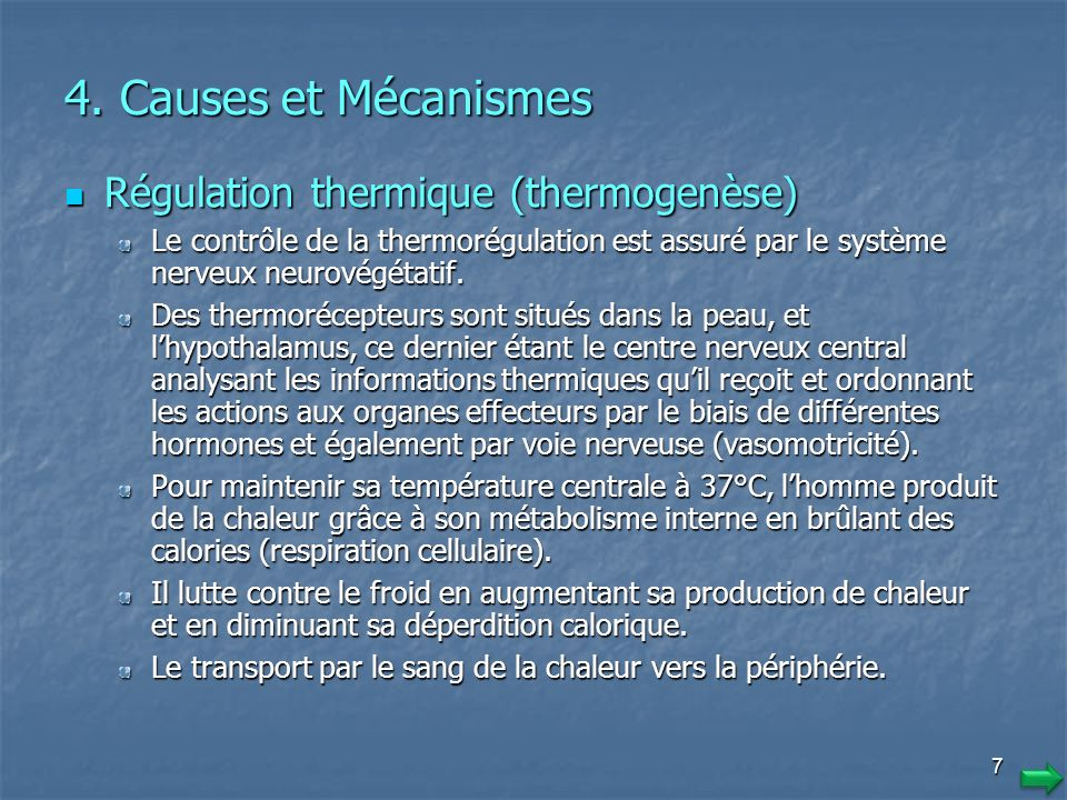 4. Causes et Mécanismes Régulation thermique (thermogenèse)