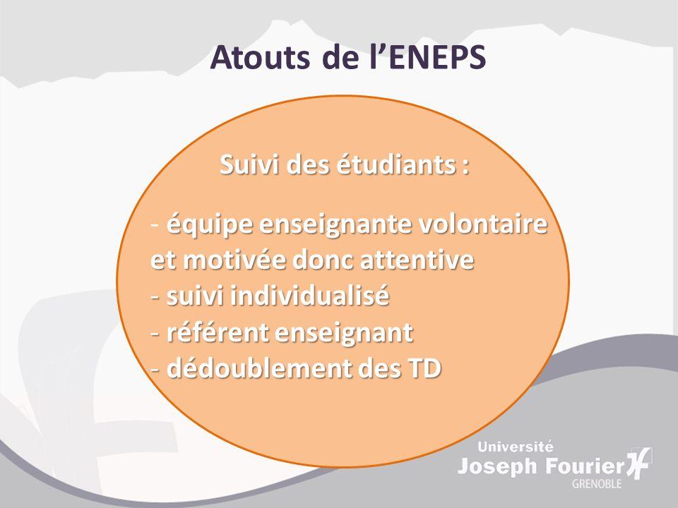 Atouts de l'ENEPS Suivi des étudiants :