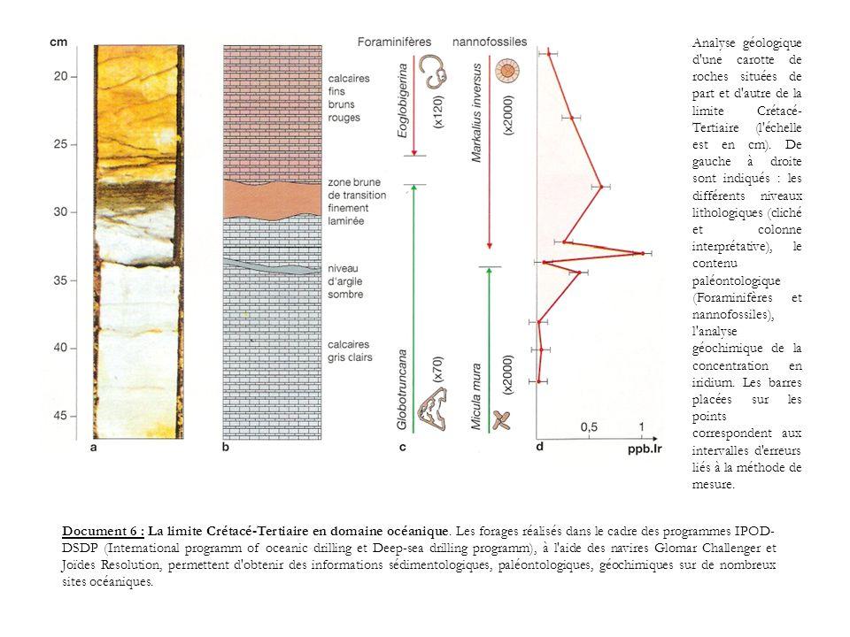 Analyse géologique d une carotte de roches situées de part et d autre de la limite Crétacé-Tertiaire (l échelle est en cm). De gauche à droite sont indiqués : les différents niveaux lithologiques (cliché et colonne interprétative), le contenu paléontologique (Foraminifères et nannofossiles), l analyse géochimique de la concentration en iridium. Les barres placées sur les points correspondent aux intervalles d erreurs liés à la méthode de mesure.